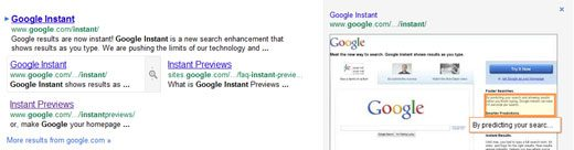 Google Instant Previews - New Button on Google Site Links