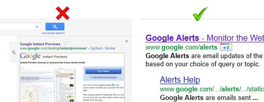Google +1 Button Moves next to the Web Address in New Google Instant Previews