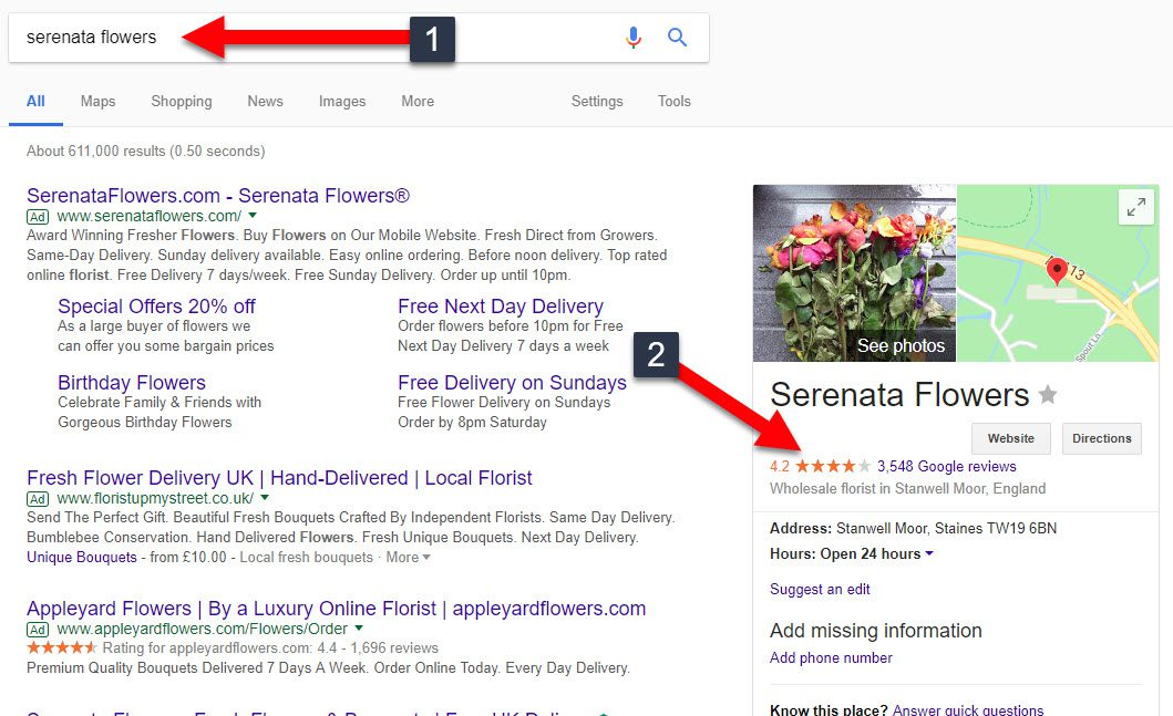 Your Google reviews (with star rating) will show when someone searches your brand
