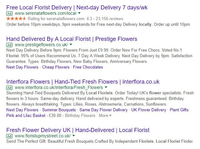 Google search results showing how an advert with a star rating really stands out