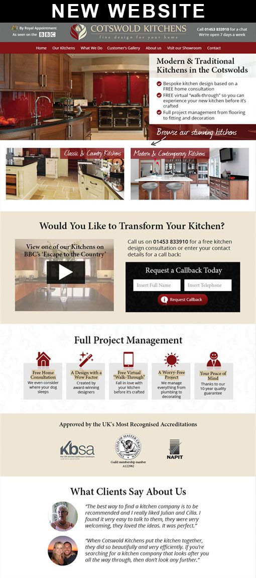 New Web Design for Cotswold Kitchens