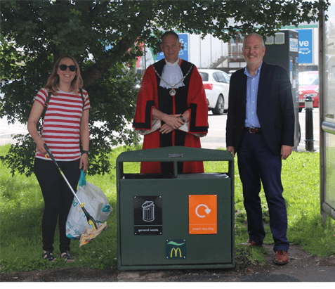 Photo of Sarah White from the 'Sodbury and Yate Clean Up' community group, Karl Tomasin, Mayor of Yate Town Council and Mike Guerin, Franchisee and Owner of McDonald's Yate.