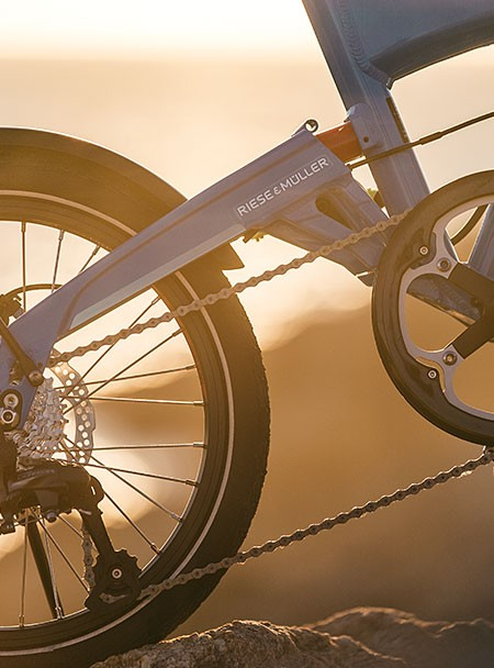 riese-and-muller-birdy-ebike-close-up-sunset